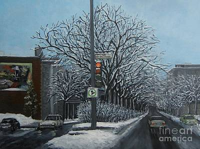 Montreal Winter Scenes Painting - Rue St Jacques by Reb Frost