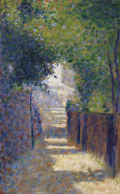 Pointillist Painting - Rue St. Vincent In Spring, C.1884 by Georges Pierre Seurat