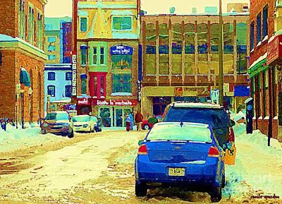 Montreal Winter Scenes Painting - Rue Stanley Cafe Bistro La Marinara Italian Resto Asm Acting School Downtown Montreal Urban Scenes   by Carole Spandau