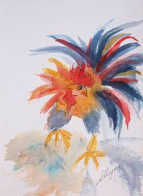 Painting - Ruffled Rooster by Ellen Levinson