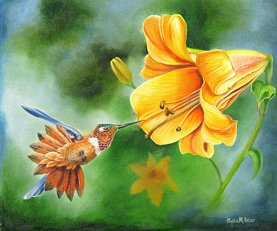 Art Print featuring the painting Rufous Hummer And The Lily by Phyllis Beiser