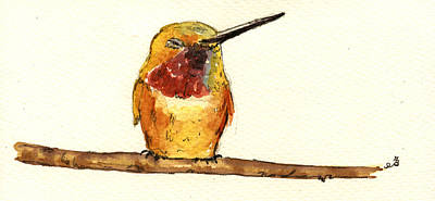 Hummingbird Painting - Rufous Hummingbird  by Juan  Bosco