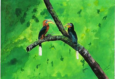 Hornbill Painting - Rufuos Headed Hornbill by Yashodan Heblekar