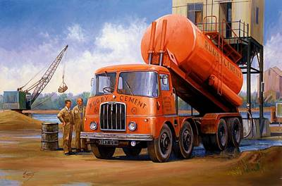 Rugby Painting - Rugby Cement Thornycroft. by Mike  Jeffries