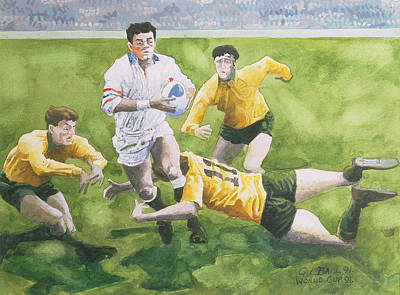 Rugby Match England V Australia In The World Cup Final, 1991, Will Carling Being Tackled Wc Art Print by Gareth Lloyd Ball
