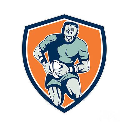Rugby Player Running Attacking Shield Retro Art Print by Aloysius Patrimonio