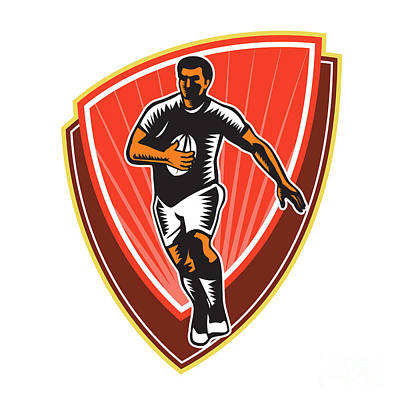 Rugby Union Digital Art - Rugby Player Running Ball Front Woodcut by Aloysius Patrimonio
