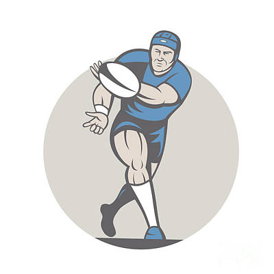 Rugby League Digital Art - Rugby Player Running Ball Isolated Cartoon by Aloysius Patrimonio