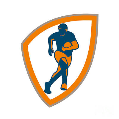 Rugby League Digital Art - Rugby Player Running Shield Silhouette by Aloysius Patrimonio