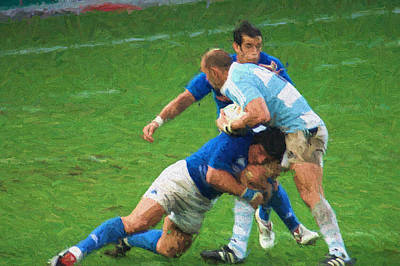 Rugby Mixed Media - Rugby by Roberto Giobbi