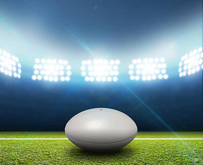 Rugby League Digital Art - Rugby Stadium And Ball by Allan Swart