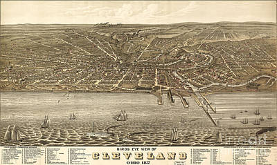 Birdseye View Painting - Rugers Birdseye View Of Cleveland 1877 by Celestial Images
