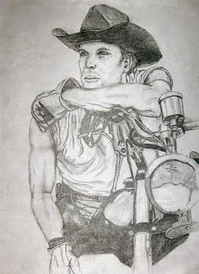 Motorcycle Cowboy Drawing - Rugged by Hilari Alsip