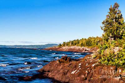 Rusty Trucks - Rugged shoreline of Lake Superior by Les Palenik