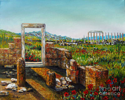 Painting - Ruined City With Poppies by Lou Ann Bagnall