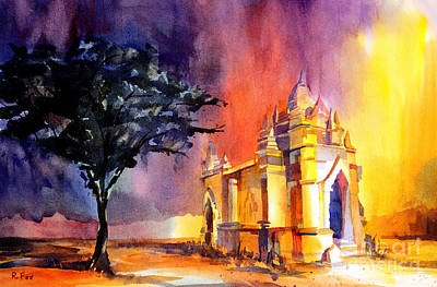 Burmese Python Painting - Ruined Feeling- Burmese Temple by Ryan Fox