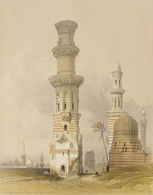 Dilapidated Painting - Ruined Mosques In The Desert by David Roberts