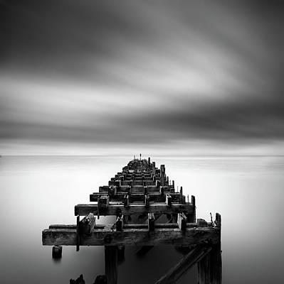 Black And White Art Photograph - Ruined Pier by George Digalakis