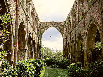 Art Print featuring the photograph Ruins Abbaye De Beauport Paimpol Bretagne by Menega Sabidussi