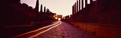 Ancient Civilization Photograph - Ruins Along A Road At Dawn, Roman by Panoramic Images