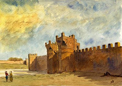 Mosque Painting - Ruins Morocco by Juan  Bosco
