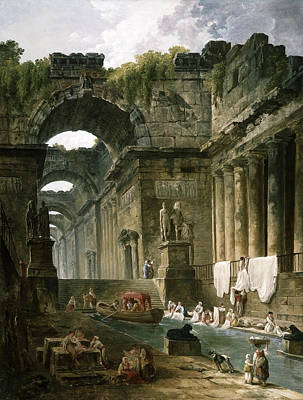 Ruins Of A Roman Bath With Washerwomen Print by Hubert Robert
