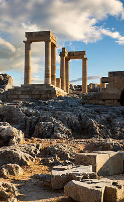 Photograph - Ruins Of Ancient Temple In Lindos Acropolis by Gurgen Bakhshetsyan