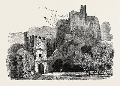 Arundel Castle Drawing - Ruins Of Arundel Castle by English School