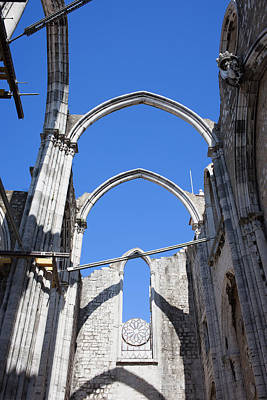 Ruins Of Carmo Gothic Church In Lisbon Art Print by Artur Bogacki