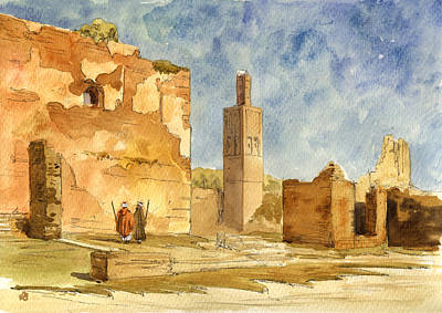 Orientalist Painting - Ruins Of Chellah  by Juan  Bosco