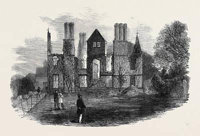 Newton Drawing - Ruins Of Kings Newton Hall Near Melbourne Derbyshire by English School