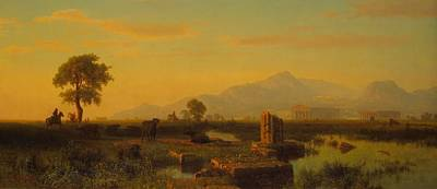 Italian Evening Painting - Ruins Of Paestum by Albert Bierstadt