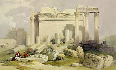 Columns Drawing - Ruins Of The Eastern Portico by David Roberts