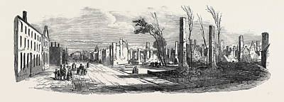 Montreal Streets Drawing - Ruins Of The Great Fire At Montreal by English School