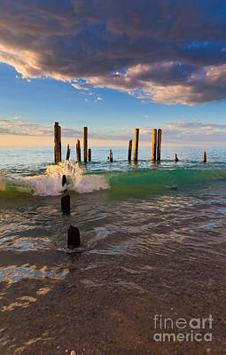 Ruins Of The Old Port Willunga Jetty Art Print by Bill  Robinson