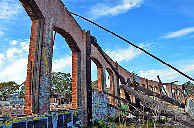 Photograph - Ruins Of The Old Train Roundhouse At Bayshore Near San Francisco And The Cow Palace by Jim Fitzpatrick