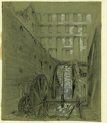 Water Mill Drawing - Ruins Of The Water Wheel In Gallego Flour Mills by Quint Lox