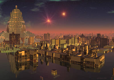 Digital Art - Rujjipet Sunset Alien Cityscape by Judi Suni Hall