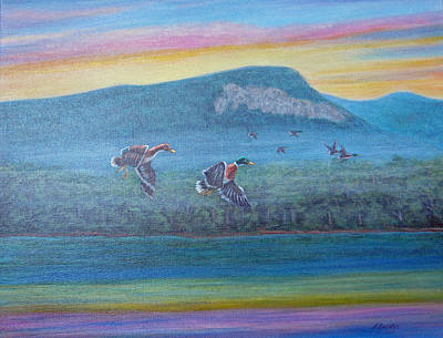 Painting - Rumbling Bald Mallards by Fran Brooks