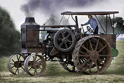 Keck Photograph - Rumely Oil Pull In Working Clothes by F Leblanc