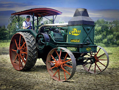 Rumely Oil Pull Vintage Tractor Art Print by F Leblanc