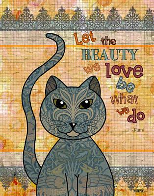 Cat Drawing Digital Art - Rumi Cat Beauty by Cat Whipple