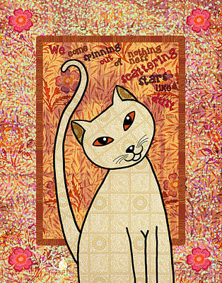 Yellow Cat Digital Art - Rumi Cat Stars by Cat Whipple