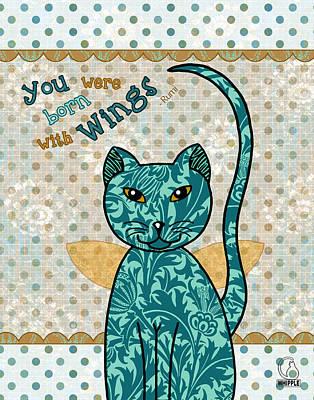 Cat Drawing Digital Art - Rumi Cat Wings by Cat Whipple