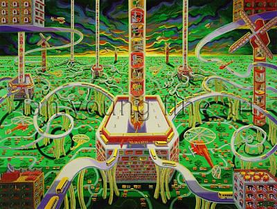 Conveyor Belt Painting - Rumor Mills by Ian Young