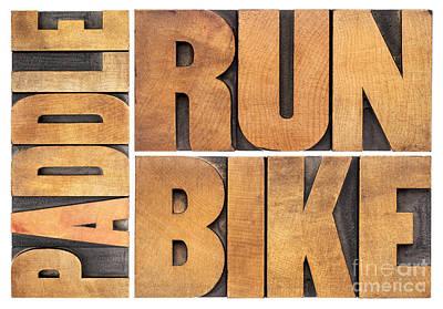 Art Print featuring the photograph Run Bike Paddle - Triathlon Concept by Marek Uliasz