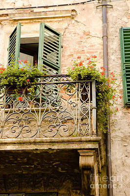 run down Italian balcony with shutters and flowers Art Print by Peter Noyce