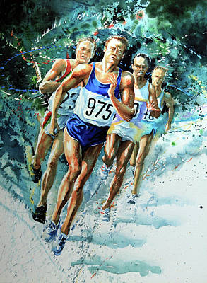 Sports Paintings - Run For Gold by Hanne Lore Koehler