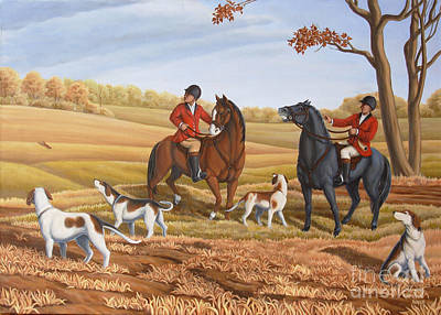 Clouds Rights Managed Images - Run Fox Run Hunting Painting commission Royalty-Free Image by Kim Hunter