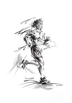 Run Lovers Running Man Painting Sport Athletic Olimpic Original by Mariusz Szmerdt